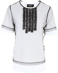DSquared² - T-shirt With Tulle - Lyst