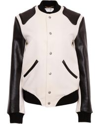 a34ff821b33 Saint Laurent Shearling Collar Bomber Jacket in Natural - Lyst