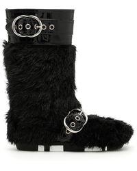 Miu Miu - Faux Shearling And Patent Boots - Lyst