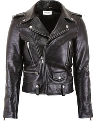 Saint Laurent Giubbotto Biker Dead Bird - Nero