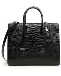 b49bc1e027a Saint Laurent White Croc-embossed Baby Sac De Jour Tote in White - Lyst