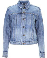 Saint Laurent - Denim Jacket With Badge - Lyst