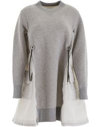 Sacai Cotton And Nylon Dress - Gray
