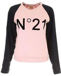 N°21 - Logo Jersey & Crepe De Chine Sweatshirt - Lyst