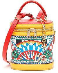 fa347407cbeb Lyst - Dolce   Gabbana Sicilian Carretto Bucket Tote in Red