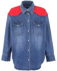 Calvin Klein Western Denim Shirt With Inserts - Blue
