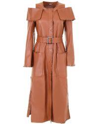 Fendi - Shoulder Cut Out Leather Coat - Lyst