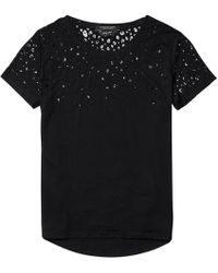 Maison Scotch | Short Sleeve Burn-out Animal Womens Tee | Lyst