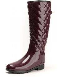 HUNTER - Refined Gloss Quilted Tall Womens Boot - Lyst