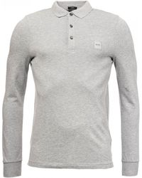 0f4cbd251 BOSS Regular-fit Long-sleeved Polo Shirt In Cotton   c-paderna 30 ...
