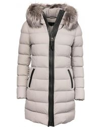 e2022019add85 Mackage - Calla Lightweight Down Coat With Fur Trimmed Hood In Mineral -  Lyst