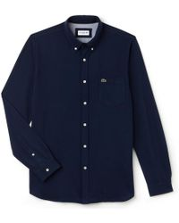 Lacoste - Long Sleeved Casual Slim Fit Bd Mens Shirt - Lyst
