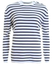 French Connection - Mozart Milano Stripe Long Sleeve Womens Crew Neck - Lyst