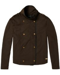 Maison Scotch - Double Breasted Boxy Cropped Technical Twill Quality Womens Jacket - Lyst