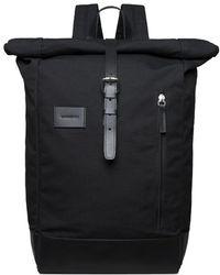 Sandqvist - Dante Grand Black Backpack With Black Leather - Lyst