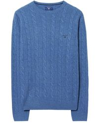 GANT - Lambswool Cable Mens Crew (aw16) - Lyst