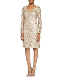 57093ffee94 Sue Wong - Sequined Paisley V-neck Cocktail Dress N5115 - 2 Pcs Beige In