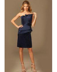 Jovani - Gorgeous Asymmetrical Neckline Peplum Bow Waistband Long Gown - Lyst