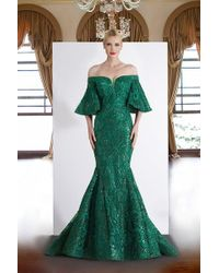 94ee5965532 Janique - Ja4013 Off-shoulder Mermaid Evening Dress In Emerald - Lyst