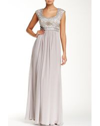 Sue Wong - N4438 Sequined Scoop Neck Chiffon Dress - 1 Pc Platinum In Size 6 Available - Lyst