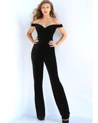 Jovani - 58964 Off Shoulder Velvet Jumpsuit Overskirt Gown - Lyst