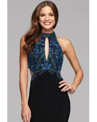 Faviana - S7906 Long Halter Matte Jersey Dress With Beading And Cutouts - Lyst