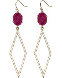 Rachael Ryen - Pave Diamond Drops Purple Jade - Lyst