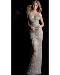 Jovani - 67280 Crystal Beaded V-neck Evening Gown - Lyst
