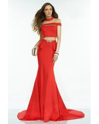 Alyce Paris - Claudine - Long Prom Dress With Sheer Cut Outs - Lyst