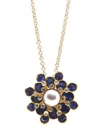 Trésor - Blue Sapphire, White Sapphire And Pearl Flower Pendant In K Yellow Gold - Lyst