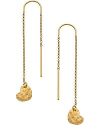 Heather Hawkins - Hammered Heart Thread Thru Earrings - Lyst