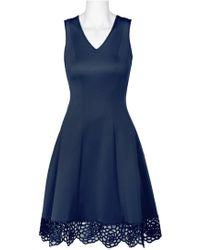 38deb8dcb5bc Donna Ricco - Dr30919 Sleeveless V Neck Crochet Hem Scuba Dress - Lyst