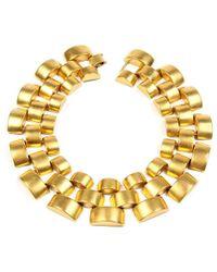 Ben-Amun - Gold Round Pyramid Necklace - Lyst