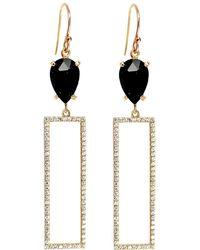 Rachael Ryen - Rectangle Pave Drop Earrings - Black Onyx - Lyst