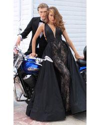 207b33a8d4a Tarik Ediz - 50431 Embroidered Deep V-neck Dress With Overskirt - Lyst