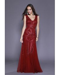 4ad27e8a2f Lyst - Shail K 12141 Sleeveless Razor Back Sequin Prom Dress in Red