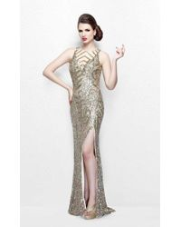 Primavera Couture - Sequined Sleeveless Long Gown With Slit - Lyst
