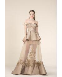 Saiid Kobeisy - Re3576 Brocade Off-shoulder Layered A-line Dress - Lyst