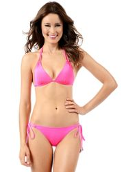 Voda Swim - Neon Pink Envy Push Up Double String Top - Lyst