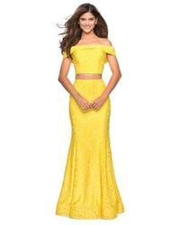 5d207bbaeee2 La Femme - 27443 Two-piece Allover Lace Off Shoulder Mermaid Gown - Lyst
