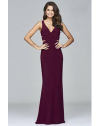 Faviana - V-neck Evening Dress With Side Cut-outs - Lyst