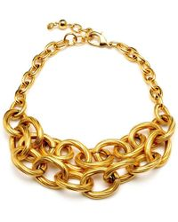 Ben-Amun - Textured Gold Chain Link Double Row Necklace - Lyst