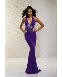 Xcite Prom - Plunging Halter Long Dress - Lyst