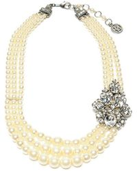 Ben-Amun - Three Row Pearl Necklace With Vintage Brooch - Lyst