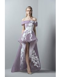 0d14efc5bbb96 Saiid Kobeisy - 3386 Off-shoulder High Low Tulle Gown - Lyst