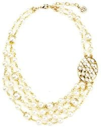 Ben-Amun - Lattice Pearls Multi Layers Necklace With Oval Pendant - Lyst