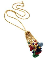 Ben-Amun - Moroccan Coin Tassel Necklace With Pom Pom - Lyst