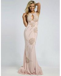Jovani - Elegant Halter Neckline Long Dress With Beaded Bodice - Lyst