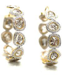 Trésor - Organic Diamond Slice With White Diamond Hoop Earrings In K Yellow Gold - Lyst