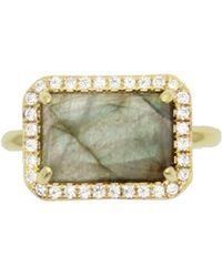 Rachael Ryen - Baguette Pave Ring - Labradorite - Lyst